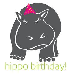 Hippo birthday vector