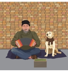 Homeless man with Dog Shaggy man in dirty rags vector