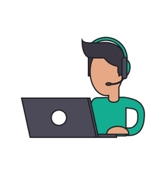 Isolated operator man with laptop design vector image
