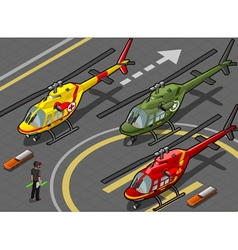 Isometric Red Helicopter Landing in Three Livery vector