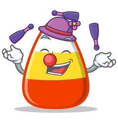 Juggling candy corn character cartoon vector