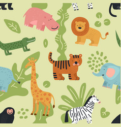jungle animals seamless pattern lion crocodile vector image