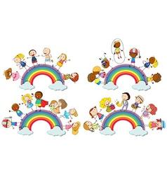 Kids standing on rainbow vector image