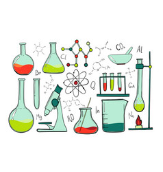 laboratory equipment color set science chemistry vector image