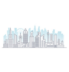Line modern urban big city panorama with color vector
