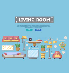 Living room design poster in flat style vector