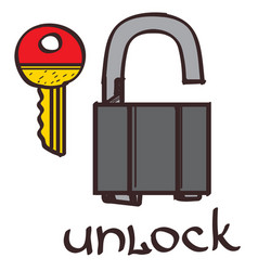 Lock and key clipart color on a white background vector