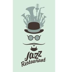 Man face in jazz restaurant vector