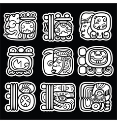 Maya glyphs writing system and languge design vector image