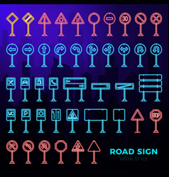 mega set doodle road signs in neon style vector image