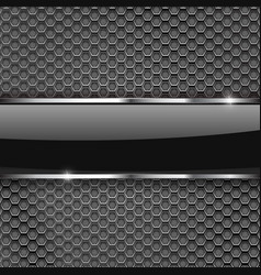 Metal perforated background with glass plate vector