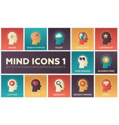 Mind icons - modern set flat design vector