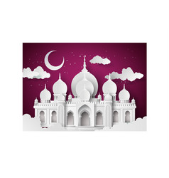 Mosque in the night moon vector