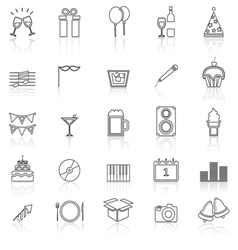 New Year line icons with reflect on white vector image