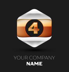 number letter four logo in silver-golden hexagonal vector image