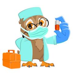 Owl doctor in medical mask holds pill medicine vector