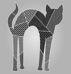 patchwork cat silouette in light gray and black vector image