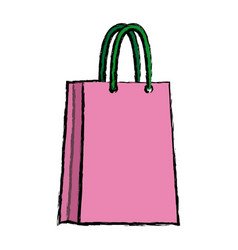 Pink paper bag shopping empty vector
