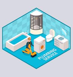 plumbing service isometric vector image