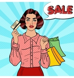 Pop Art Woman with Shopping Bags and Credit Card vector