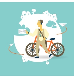 Postman a bike with a letter icon vector