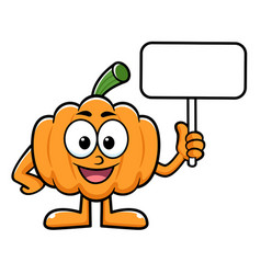 Pumpkin character is holding a picket halloween vector