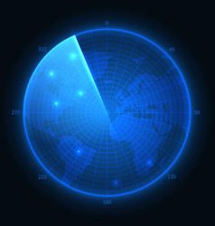 radar screen military blue sonar navigation vector image