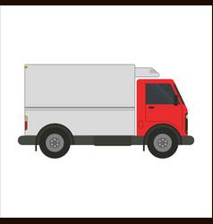 Refrigerator truck flat vector