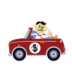 Rich man car vector