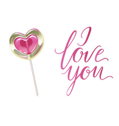 romantic lollipop in the shape of a heart and i vector image