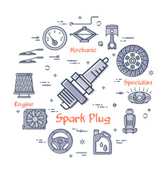 Round banner of spark plug - car part vector