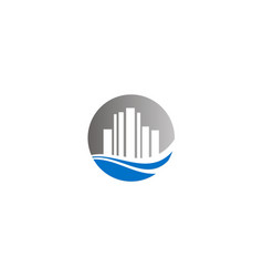 round cityscape building logo vector image