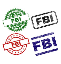 Scratched textured fbi seal stamps vector