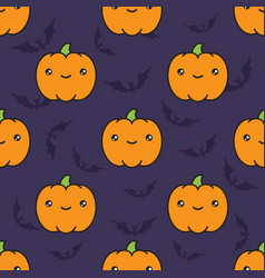 seamless halloween pattern with pumpkins on dark vector image