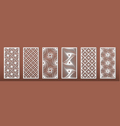 Set laser cut templates with geometric pattern vector