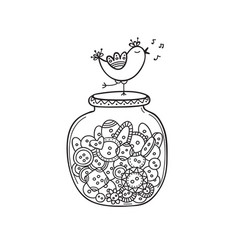 set of cloth buttons in jar with bird in boho vector image