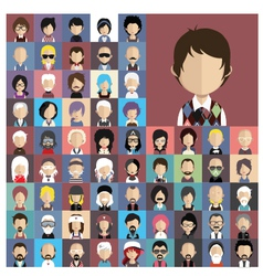 Set people icons in flat style with faces vector