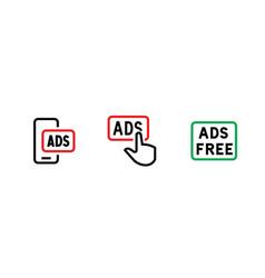 Set smartphone prohibition button blocking ads vector
