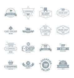 shopping logo icons set simple style vector image