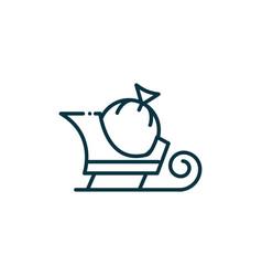 sleigh bag happy christmas line icon vector image