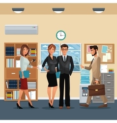 Staff office working scene furniture cabinet vector