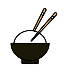 Sushi oriental menu bowl rice with chopsticks line vector