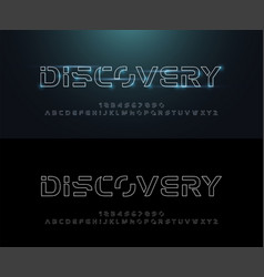 technology abstract neon line stroke font and vector image