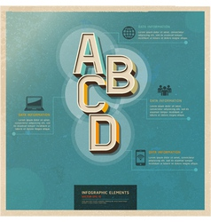 Technology infographics elements retro color vector