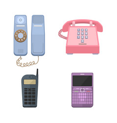 Telephones vintage icons vector