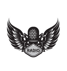 template with microphone and wings on musical vector image