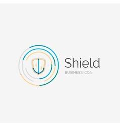 Thin line neat design logo shield icon vector image