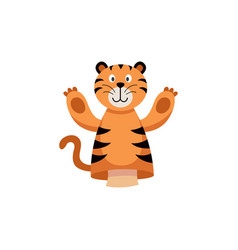 tiger hands or finger puppet color icon flat vector image