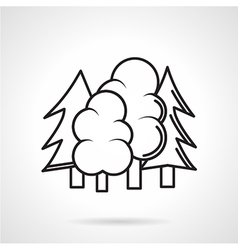 Trees black line icon vector image