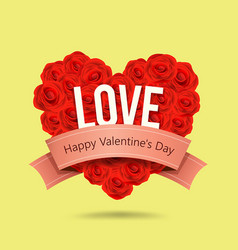 valentines day red rose heart shape and ribbon vector image